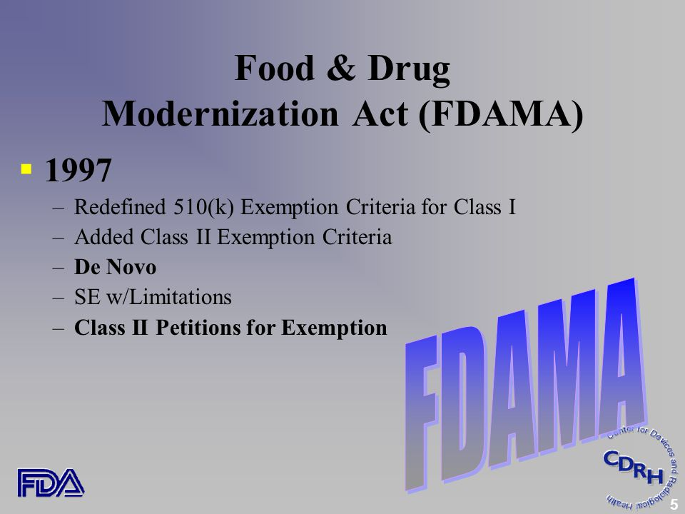 5 Food & Drug Modernization Act (FDAMA)  1997 –Redefined 510(k) Exemption Criteria for Class I –Added Class II Exemption Criteria –De Novo –SE w/Limitations –Class II Petitions for Exemption