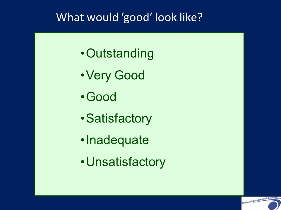 Outstanding Very Good Good Satisfactory Inadequate Unsatisfactory What would 'good' look like