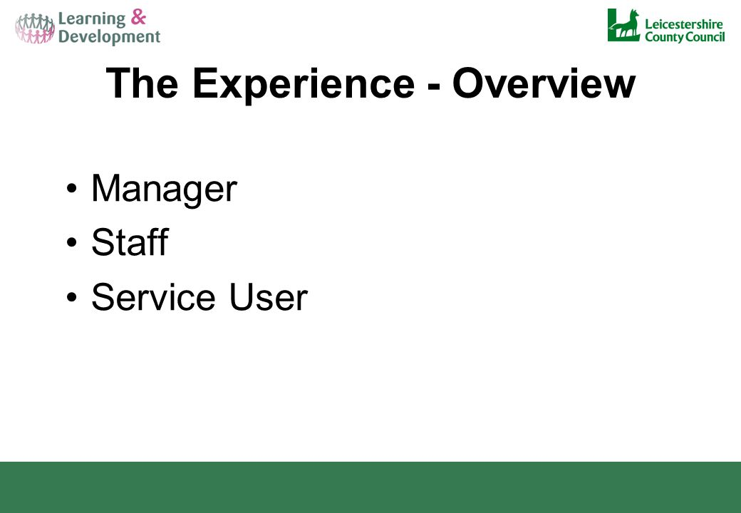 The Experience - Overview Manager Staff Service User