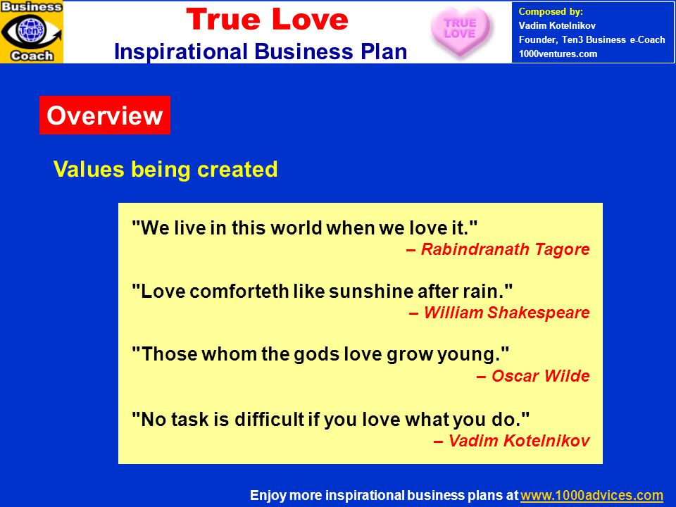 True Love Inspirational Business Plan Composed Of Love Quotes By