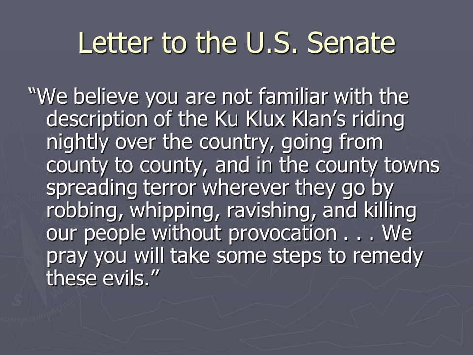 Letter to the U.S.