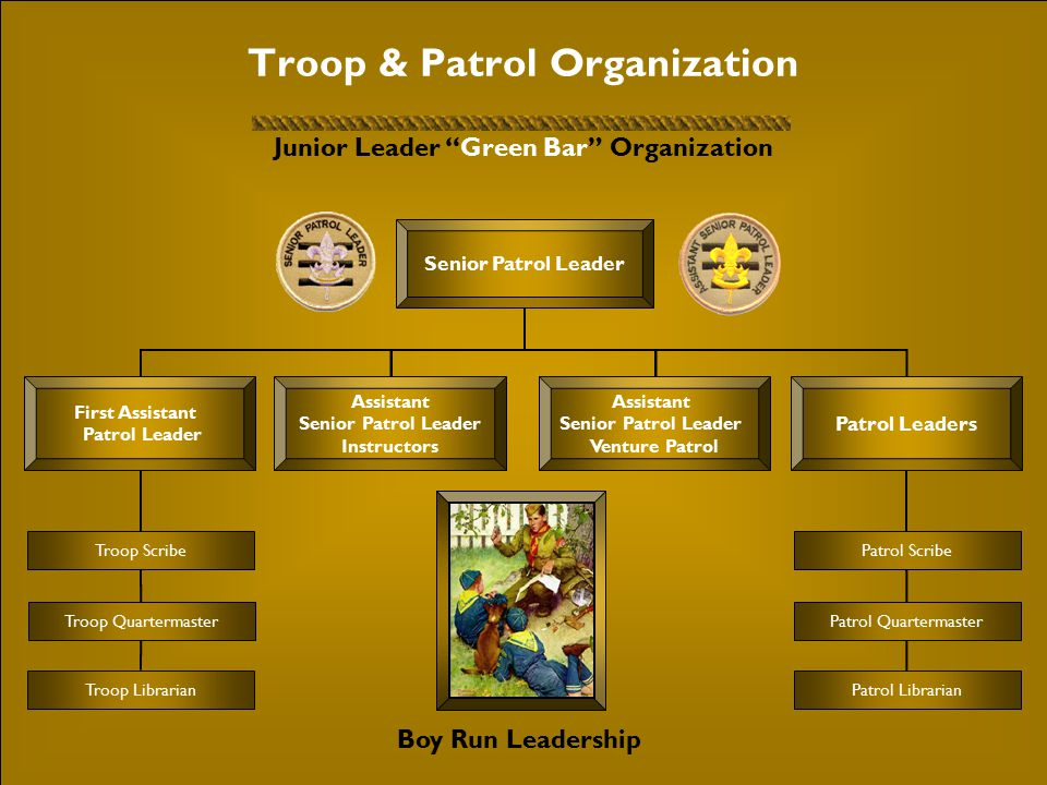 Troop & Patrol Organization Junior Leader Green Bar Organization Troop Scribe Troop Quartermaster Troop Librarian Senior Patrol Leader Patrol Leaders First Assistant Patrol Leader Assistant Senior Patrol Leader Instructors Assistant Senior Patrol Leader Venture Patrol Boy Run Leadership Patrol Scribe Patrol Quartermaster Patrol Librarian