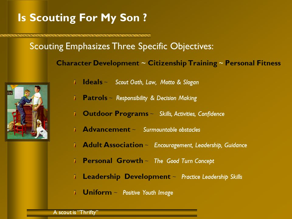 Is Scouting For My Son .