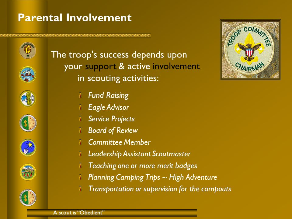 Parental Involvement Fund Raising Eagle Advisor Service Projects Board of Review Committee Member Leadership Assistant Scoutmaster Teaching one or more merit badges Planning Camping Trips ~ High Adventure Transportation or supervision for the campouts A scout is Obedient The troop s success depends upon your support & active involvement in scouting activities: