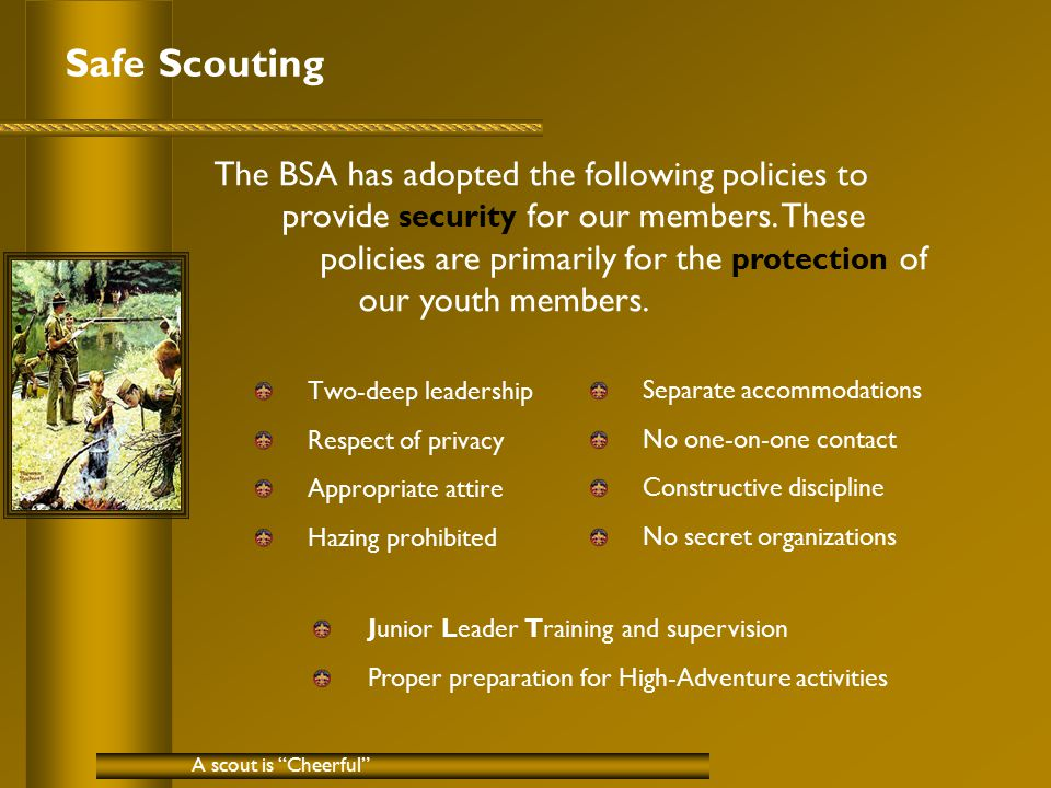 Safe Scouting Two-deep leadership Respect of privacy Appropriate attire Hazing prohibited A scout is Cheerful The BSA has adopted the following policies to provide security for our members.