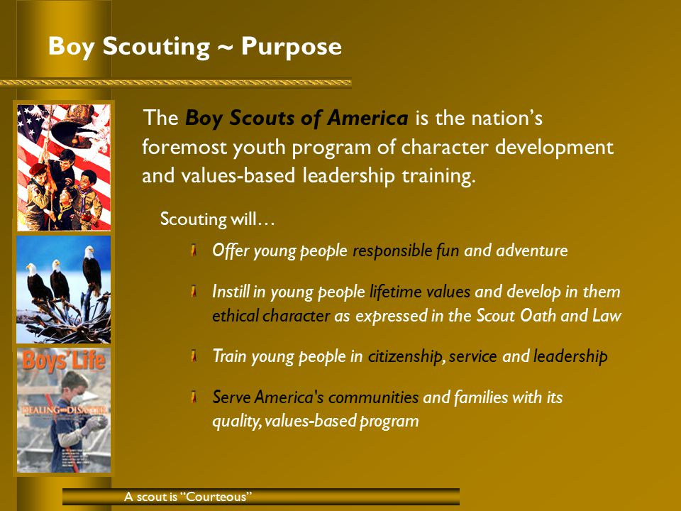 Boy Scouting ~ Purpose The Boy Scouts of America is the nation's foremost youth program of character development and values-based leadership training.