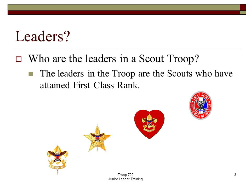 Troop 720 Junior Leader Training 3 Leaders.  Who are the leaders in a Scout Troop.