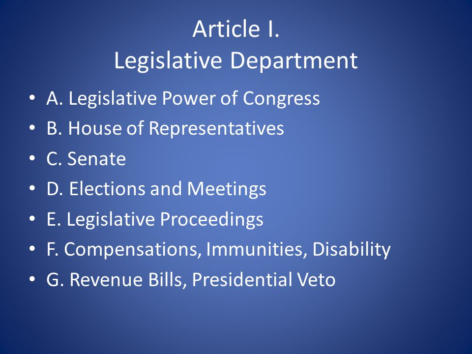 Article I. Legislative Department A. Legislative Power of Congress B.