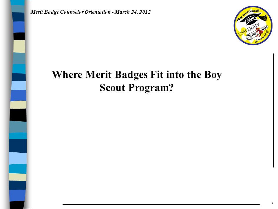 Merit Badge Counselor Orientation - March 24, 2012 Where Merit Badges Fit into the Boy Scout Program.