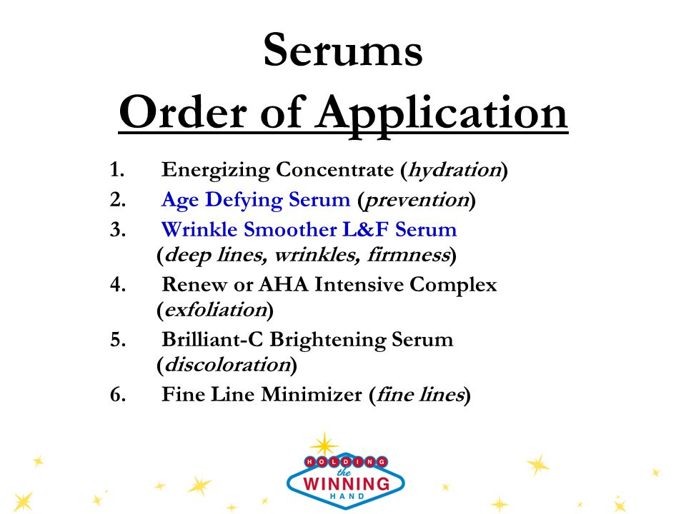 Serums Order of Application 1. Energizing Concentrate (hydration) 2.