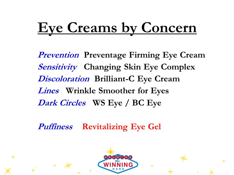 Eye Creams by Concern Prevention Preventage Firming Eye Cream Sensitivity Changing Skin Eye Complex Discoloration Brilliant-C Eye Cream Lines Wrinkle Smoother for Eyes Dark Circles WS Eye / BC Eye Puffiness Revitalizing Eye Gel