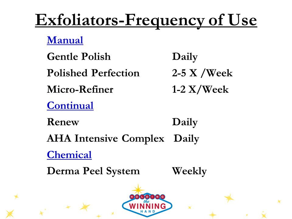Exfoliators-Frequency of Use Manual Gentle Polish Daily Polished Perfection 2-5 X /Week Micro-Refiner 1-2 X/Week Continual Renew Daily AHA Intensive Complex Daily Chemical Derma Peel System Weekly