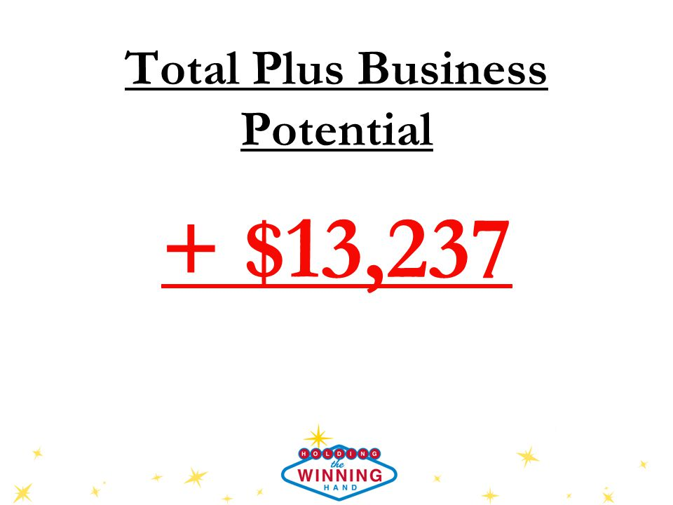 Total Plus Business Potential + $13,237