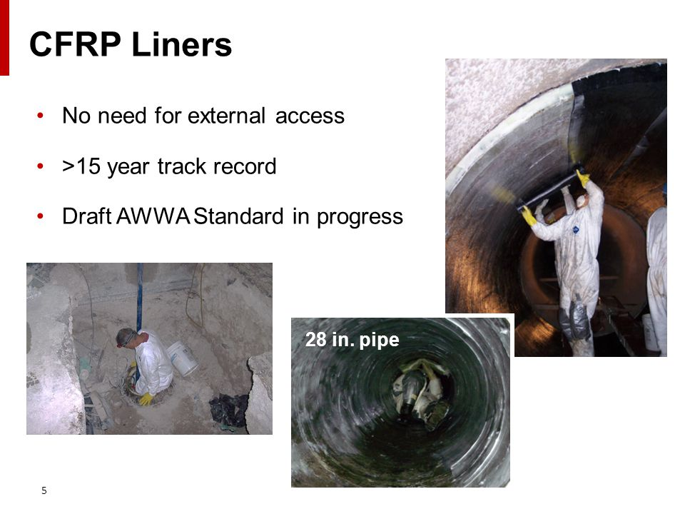 CFRP Liners No need for external access >15 year track record Draft AWWA Standard in progress 5 28 in.