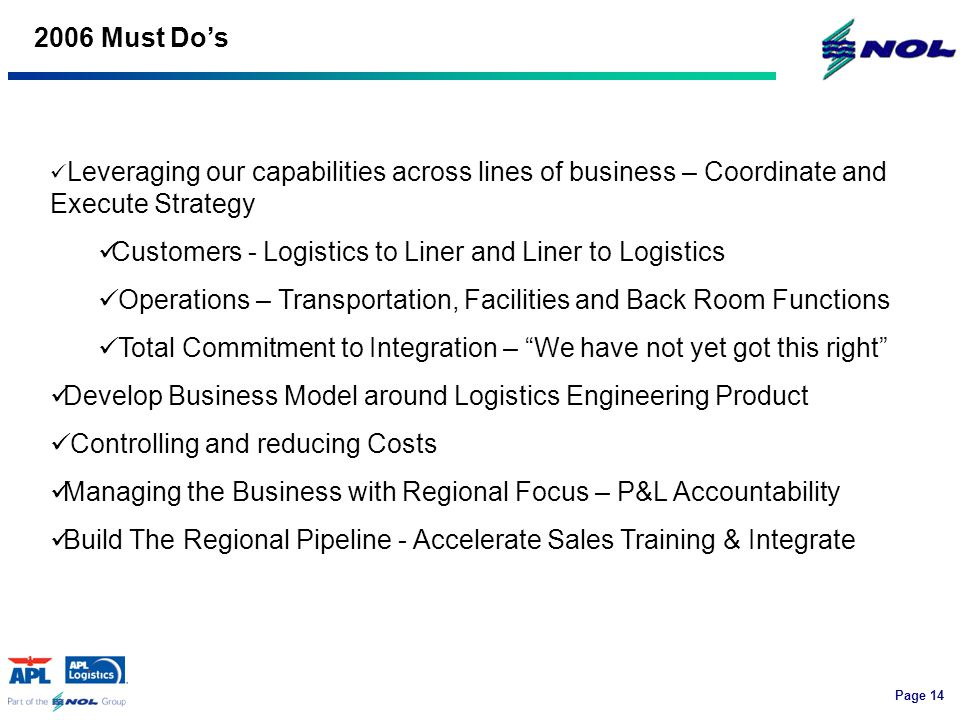 Page Must Do's Leveraging our capabilities across lines of business – Coordinate and Execute Strategy Customers - Logistics to Liner and Liner to Logistics Operations – Transportation, Facilities and Back Room Functions Total Commitment to Integration – We have not yet got this right Develop Business Model around Logistics Engineering Product Controlling and reducing Costs Managing the Business with Regional Focus – P&L Accountability Build The Regional Pipeline - Accelerate Sales Training & Integrate