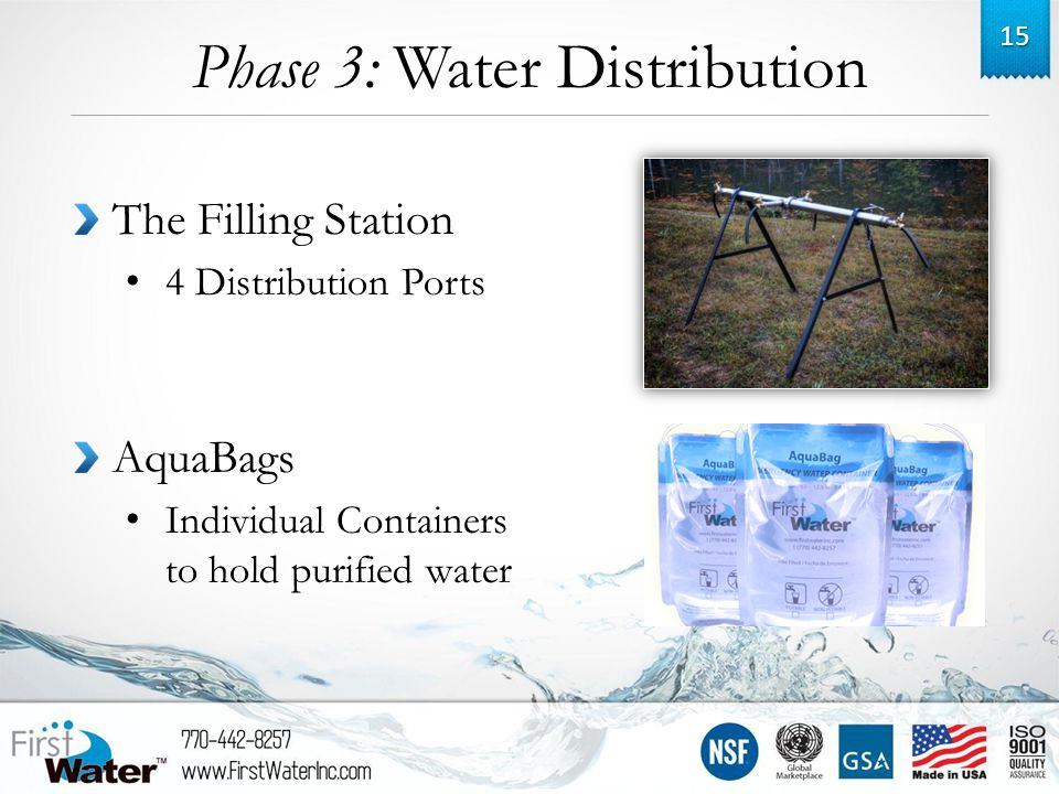 Phase 3: Water Distribution 15 The Filling Station 4 Distribution Ports AquaBags Individual Containers to hold purified water