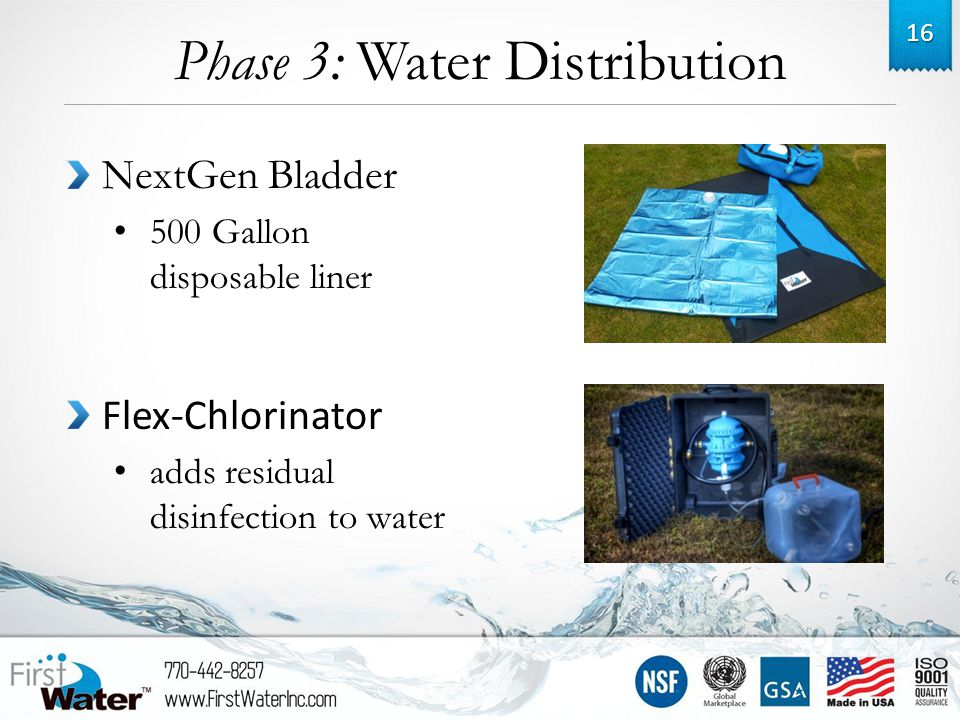 Phase 3: Water Distribution 16 NextGen Bladder 500 Gallon disposable liner Flex-Chlorinator adds residual disinfection to water