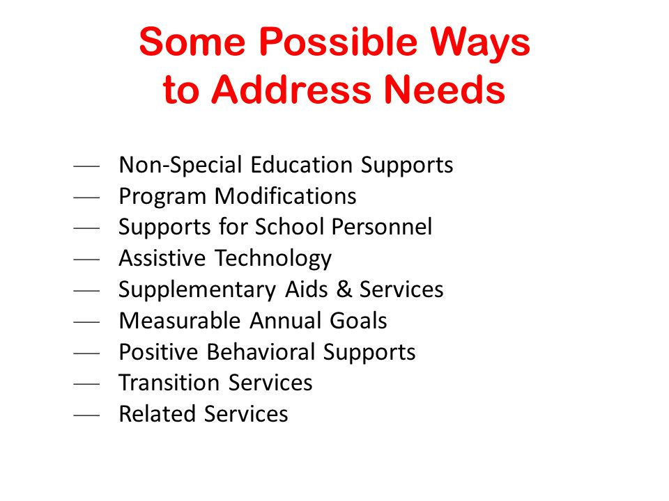 Some Possible Ways to Address Needs — Non-Special Education Supports — Program Modifications — Supports for School Personnel — Assistive Technology — Supplementary Aids & Services — Measurable Annual Goals — Positive Behavioral Supports — Transition Services — Related Services