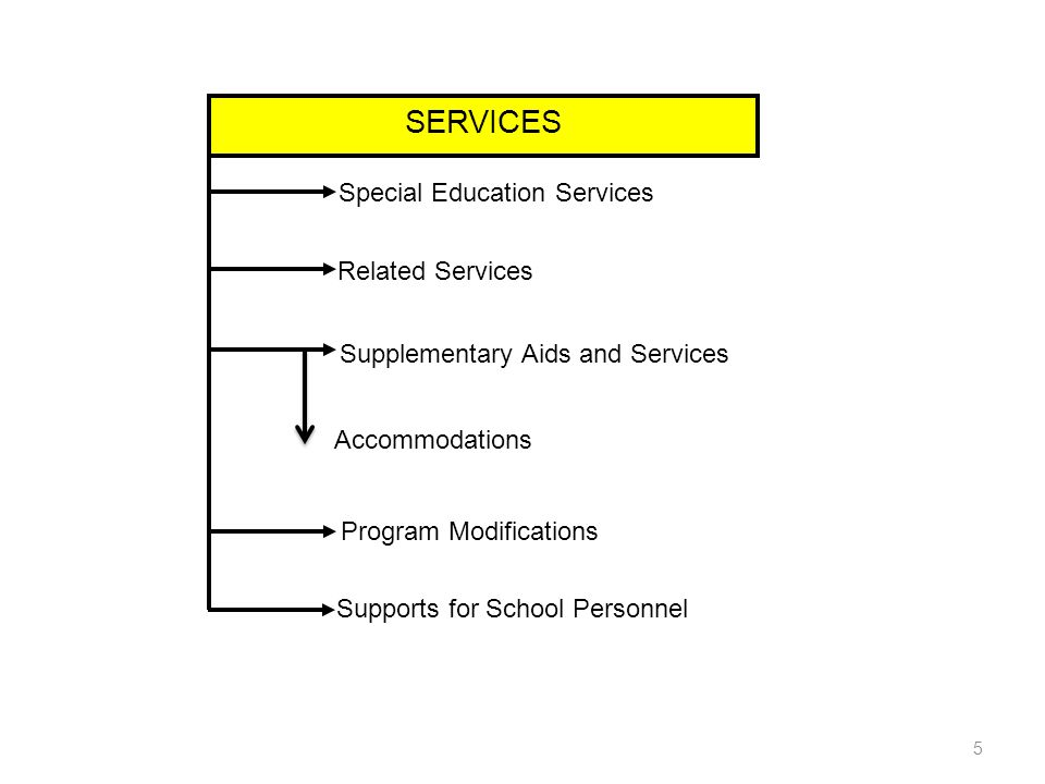 SERVICES Special Education Services Related Services Supplementary Aids and Services Program Modifications Supports for School Personnel Accommodations 5