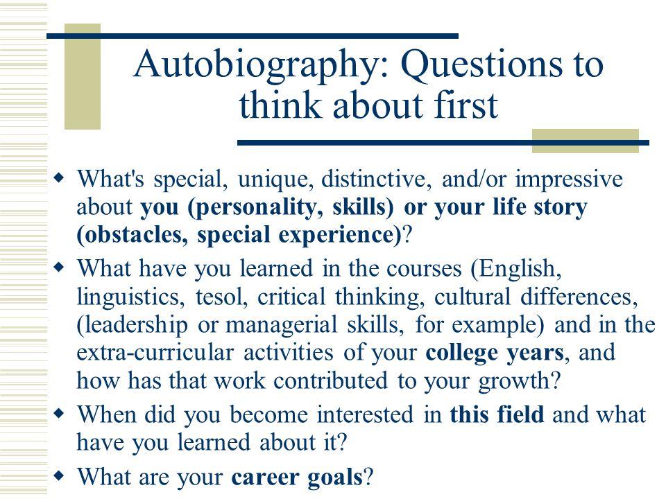 cultural autobiography questions