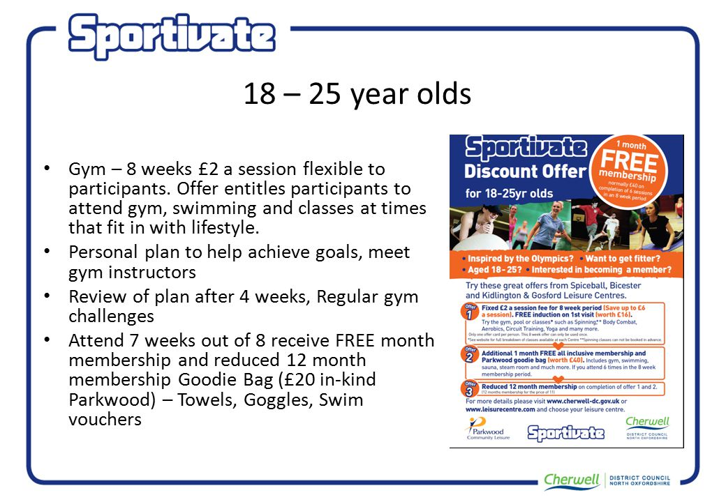 18 – 25 year olds Gym – 8 weeks £2 a session flexible to participants.
