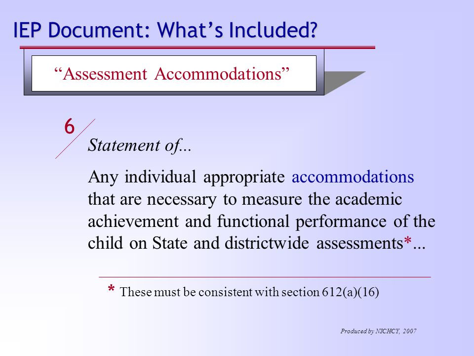 IEP Document: What's Included. Statement of...