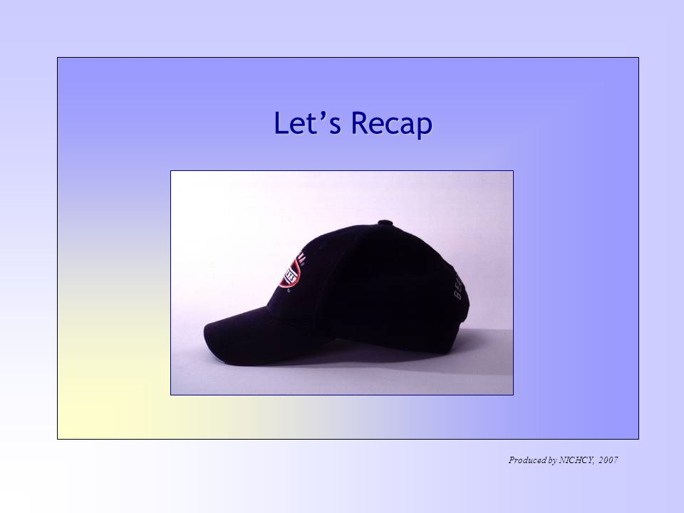 Let's Recap Produced by NICHCY, 2007