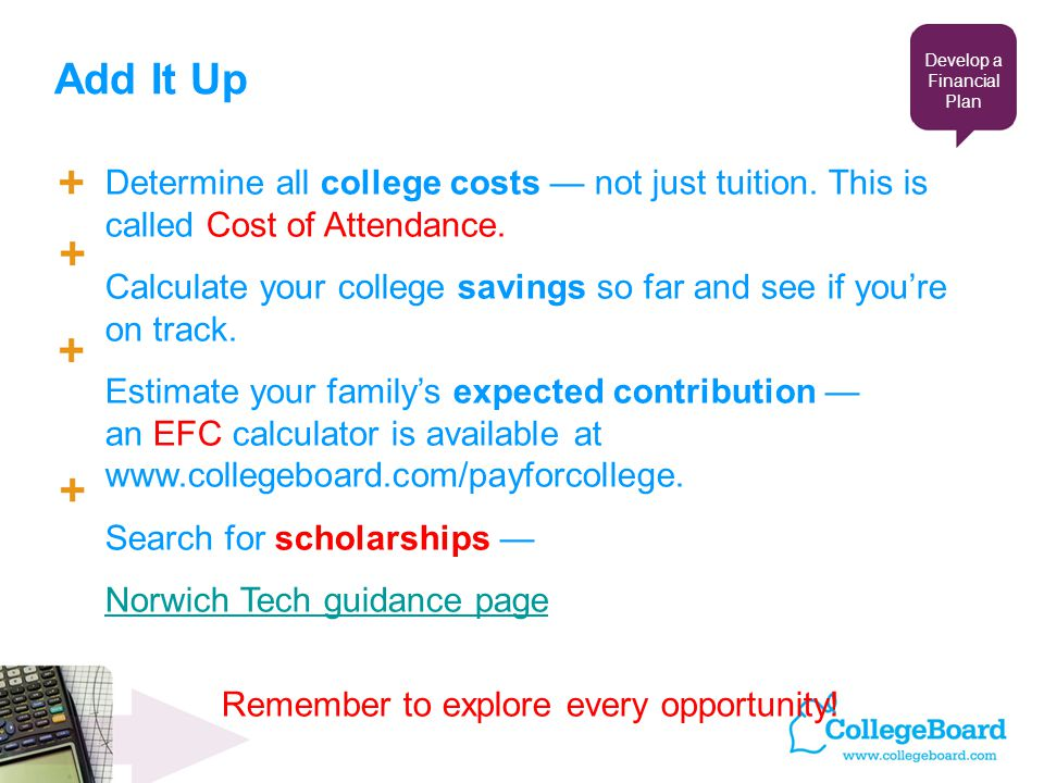 Add It Up Determine all college costs — not just tuition.