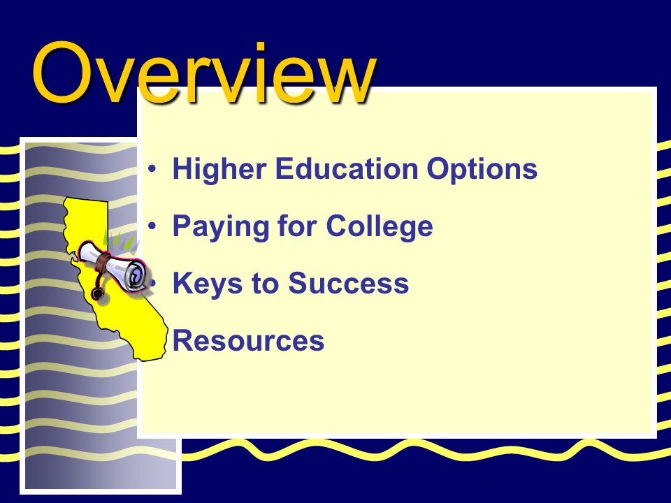 Higher Education Options Paying for College Keys to Success Resources Overview