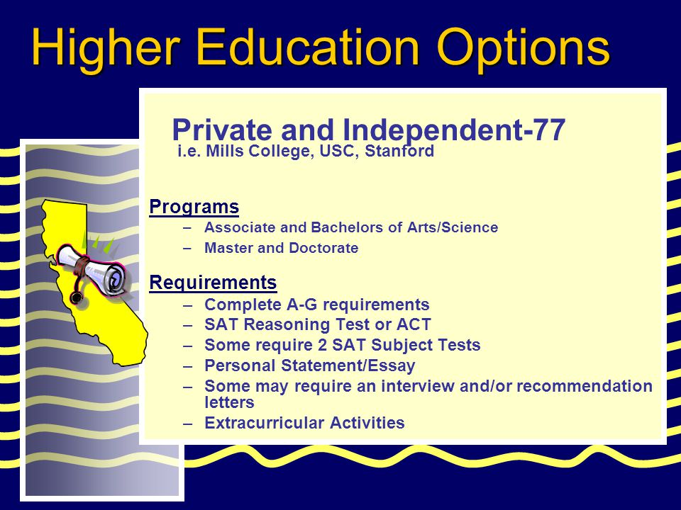 Programs –Associate and Bachelors of Arts/Science –Master and Doctorate Requirements –Complete A-G requirements –SAT Reasoning Test or ACT –Some require 2 SAT Subject Tests –Personal Statement/Essay –Some may require an interview and/or recommendation letters –Extracurricular Activities Private and Independent-77 Higher Education Options i.e.