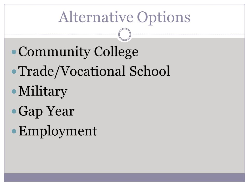 Alternative Options Community College Trade/Vocational School Military Gap Year Employment