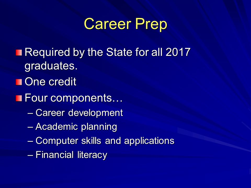 Career Prep Required by the State for all 2017 graduates.
