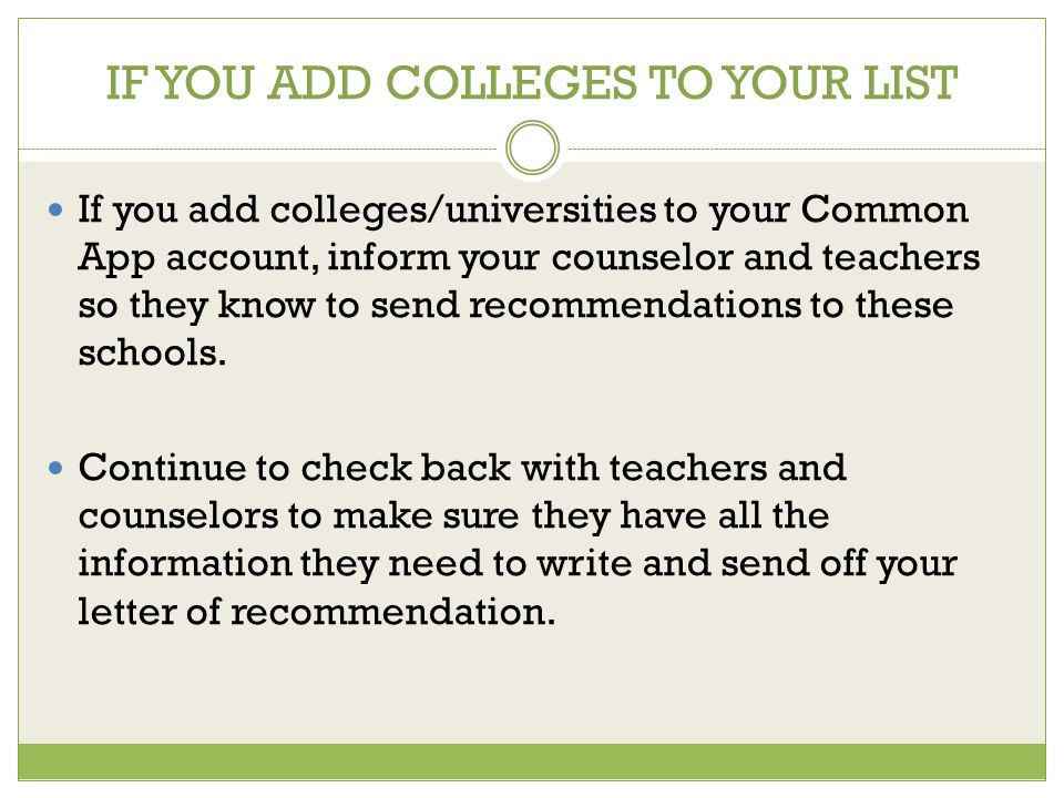 common application recommendation letters online A counselor recommendation and complete secondary school transcript should be submitted electronically through the common application or coalition application website for questbridge finalists, recommendations and transcripts are automatically forwarded with the questbridge national college match application.