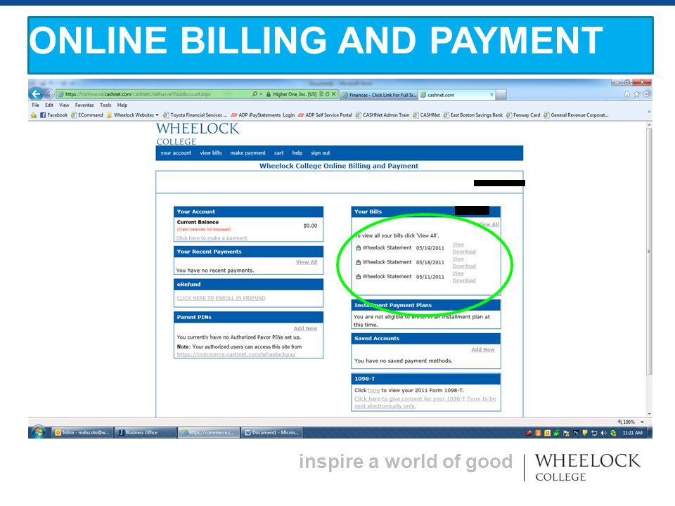 inspire a world of good ONLINE BILLING AND PAYMENT