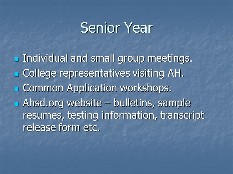 Senior Year Individual and small group meetings. Individual and small group meetings.