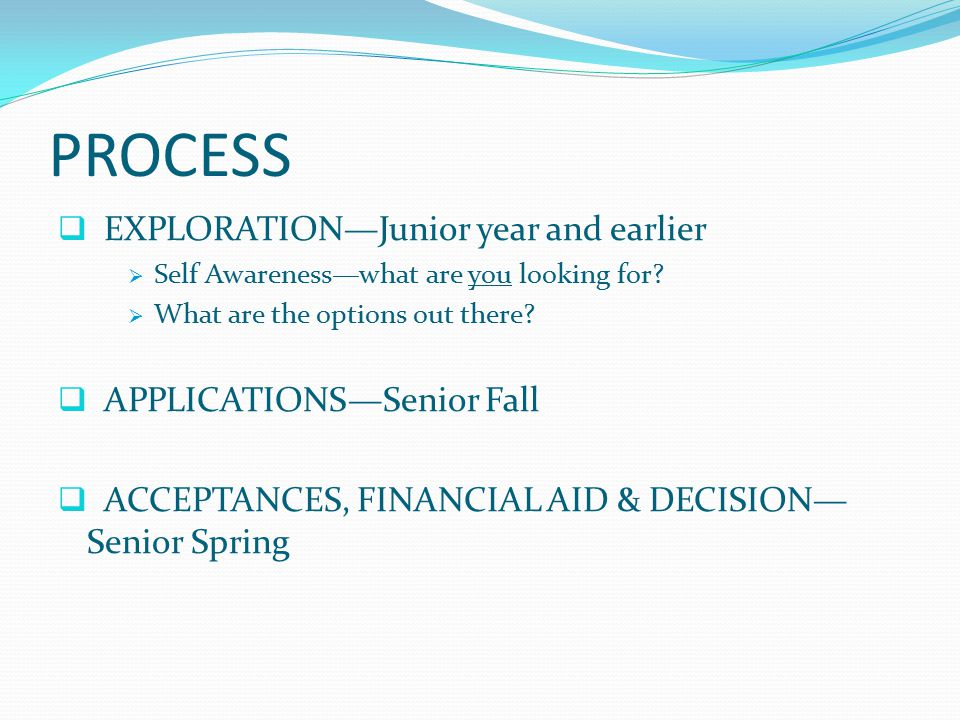 PROCESS  EXPLORATION—Junior year and earlier  Self Awareness—what are you looking for.