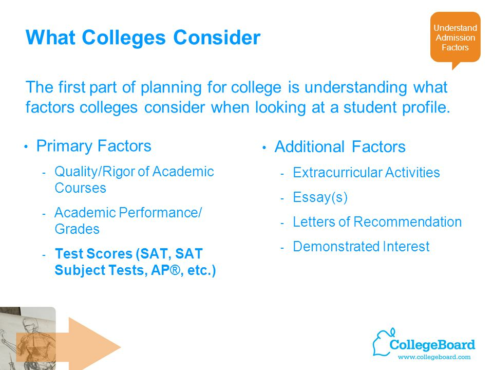 The first part of planning for college is understanding what factors colleges consider when looking at a student profile.