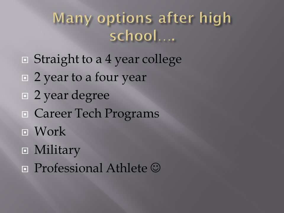  Straight to a 4 year college  2 year to a four year  2 year degree  Career Tech Programs  Work  Military  Professional Athlete