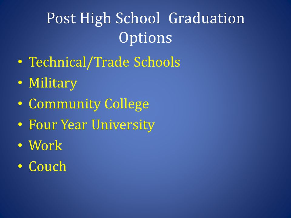 Post High School Graduation Options Technical/Trade Schools Military Community College Four Year University Work Couch