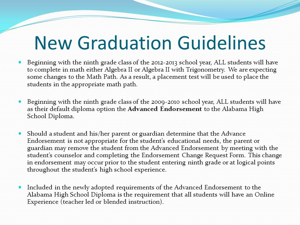 New Graduation Guidelines Beginning with the ninth grade class of the school year, ALL students will have to complete in math either Algebra II or Algebra II with Trigonometry.