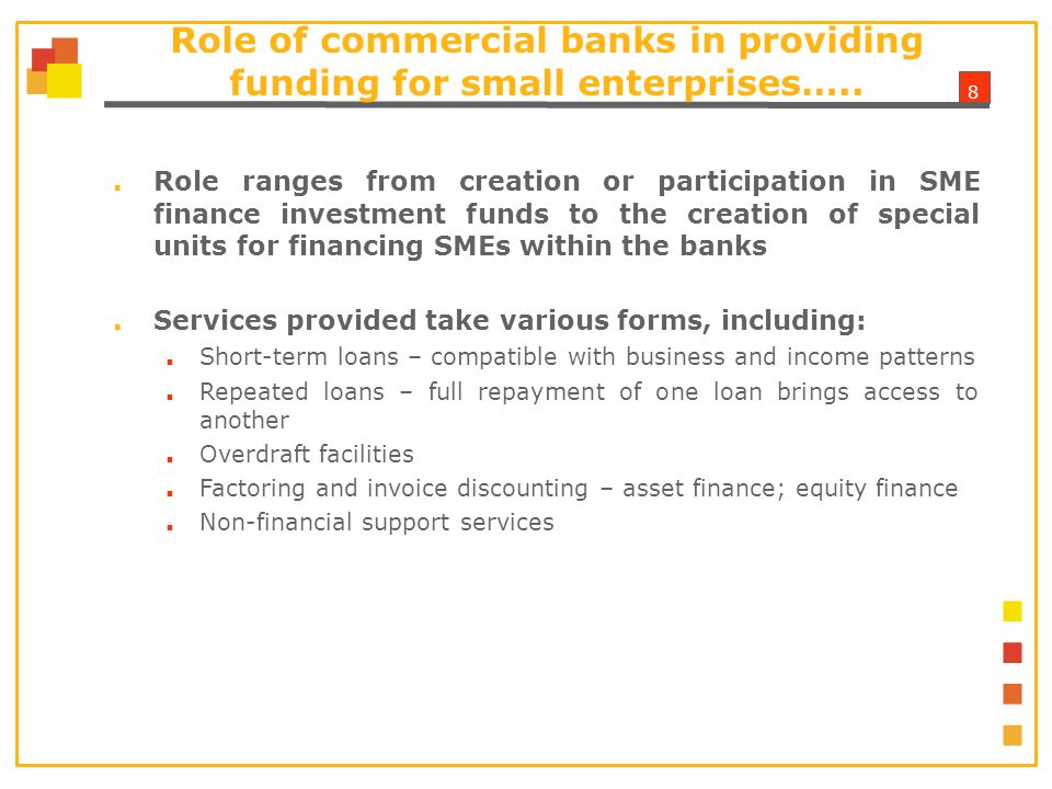 8 Role of commercial banks in providing funding for small enterprises…..