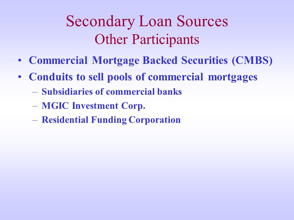 Secondary Loan Sources Other Participants Commercial Mortgage Backed Securities (CMBS) Conduits to sell pools of commercial mortgages –Subsidiaries of commercial banks –MGIC Investment Corp.