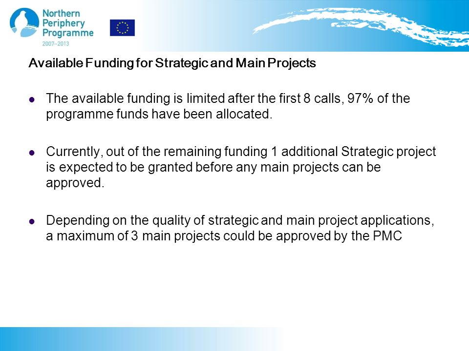 Available Funding for Strategic and Main Projects The available funding is limited after the first 8 calls, 97% of the programme funds have been allocated.