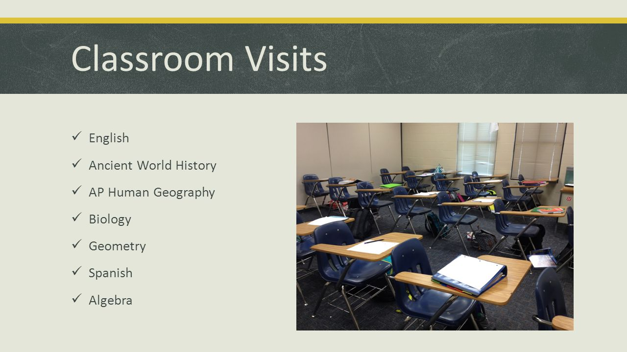 Classroom Visits English Ancient World History AP Human Geography Biology Geometry Spanish Algebra