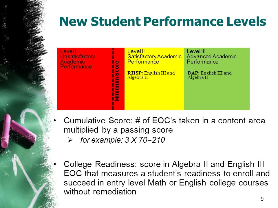 New Student Performance Levels Cumulative Score: # of EOC's taken in a content area multiplied by a passing score  for example: 3 X 70=210 College Readiness: score in Algebra II and English III EOC that measures a student's readiness to enroll and succeed in entry level Math or English college courses without remediation Level I Unsatisfactory Academic Performance Level II Satisfactory Academic Performance Level III Advanced Academic Performance Minimum Score DAP: English III and Algebra II RHSP: English III and Algebra II 9