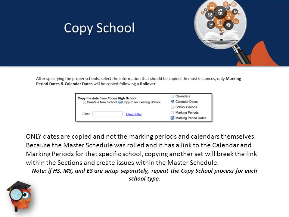 ONLY dates are copied and not the marking periods and calendars themselves.