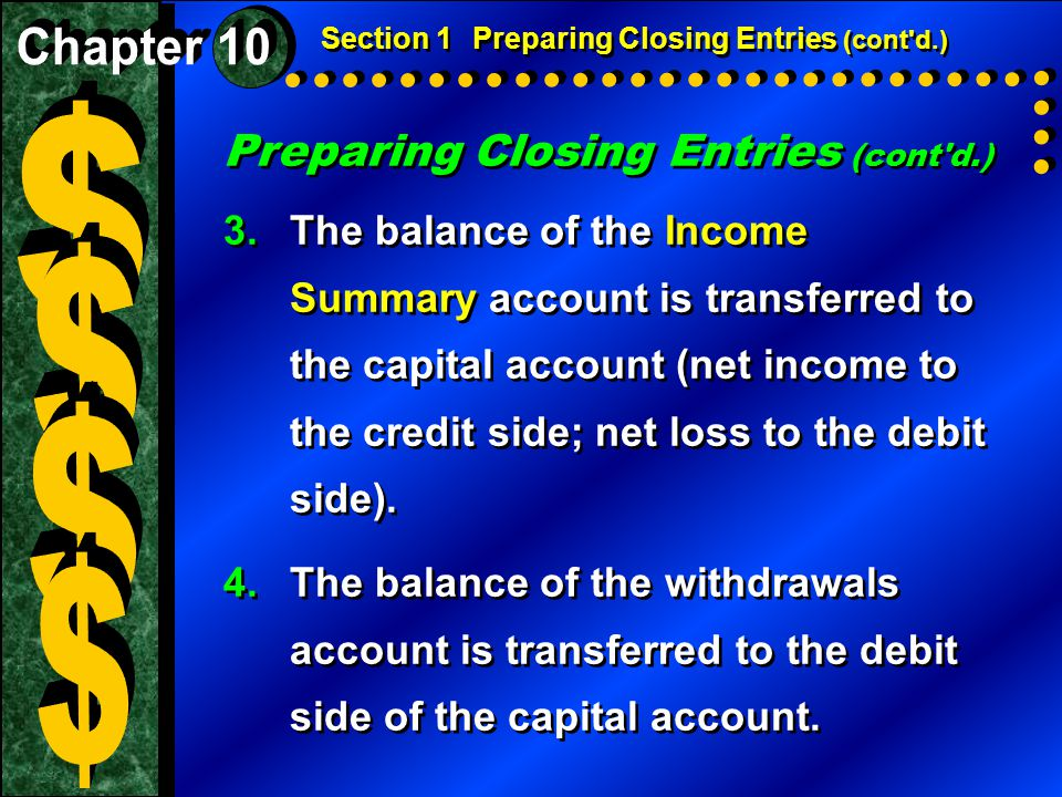 Preparing Closing Entries (cont d.) 3.The balance of the Income Summary account is transferred to the capital account (net income to the credit side; net loss to the debit side).