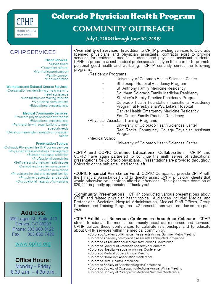 Colorado Physician Health Program Annual report July 1, 2008