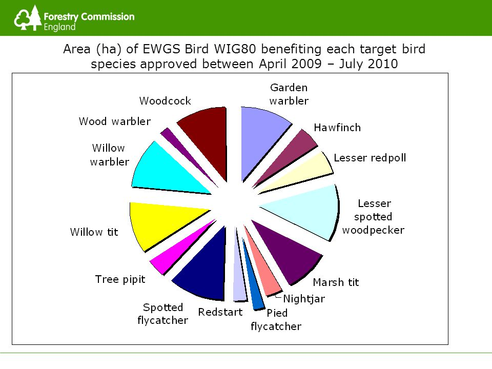 Area (ha) of EWGS Bird WIG80 benefiting each target bird species approved between April 2009 – July 2010