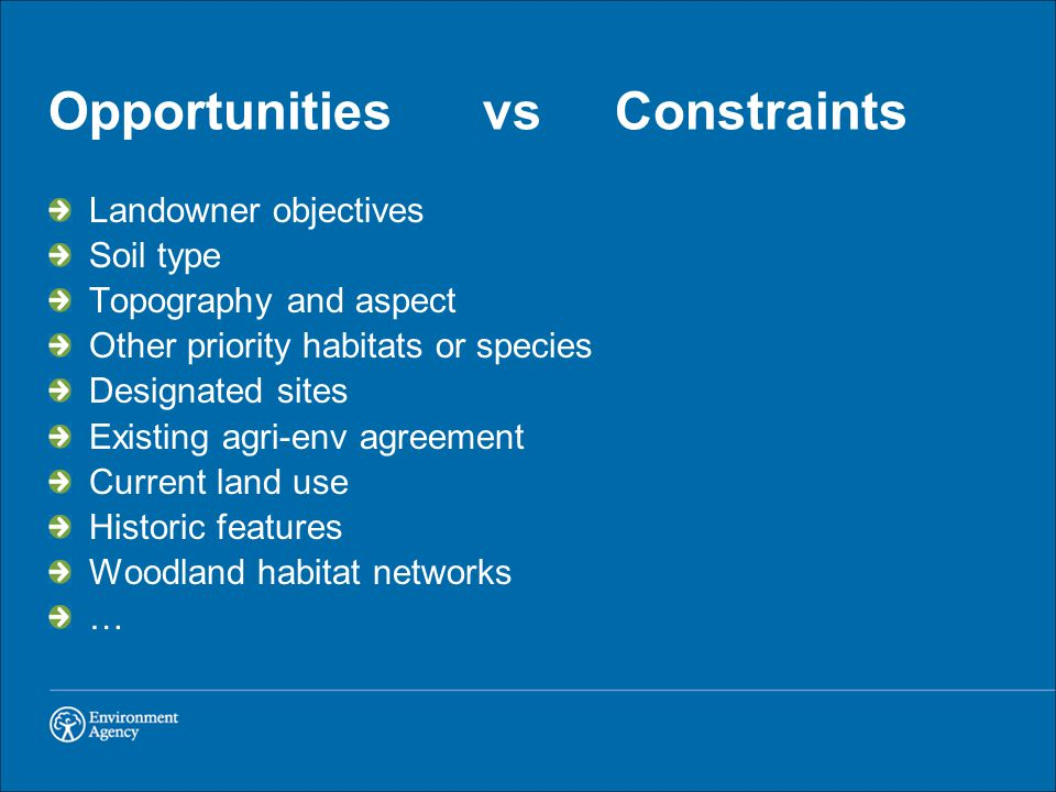 Opportunities vs Constraints Landowner objectives Soil type Topography and aspect Other priority habitats or species Designated sites Existing agri-env agreement Current land use Historic features Woodland habitat networks …